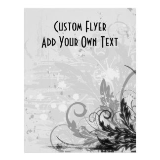 Grunge Floral Design - Light Grey B&W Flyer