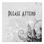 Grunge Floral Design - Light Grey B&W 5.25x5.25 Square Paper Invitation Card