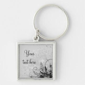 Grunge Floral Design - Light Grey B&W Keychain