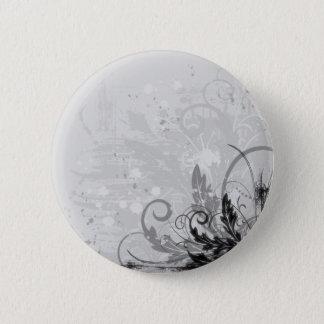 Grunge Floral Design - Light Grey B&W Pinback Button
