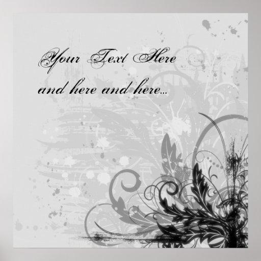 Grunge Floral Design - Light Grey B&W Poster
