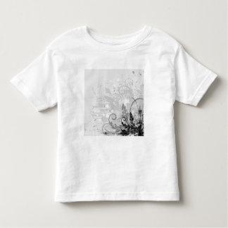 Grunge Floral Design - Light Grey B&W Toddler T-shirt