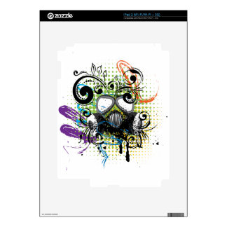 Grunge Floral Gas Mask2 Decals For The iPad 2