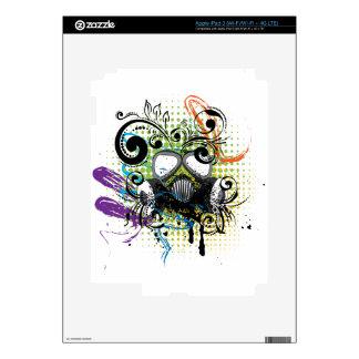Grunge Floral Gas Mask2 Skins For iPad 3