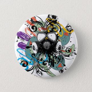 Grunge Floral Gas Mask Button
