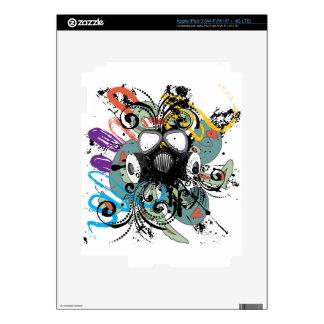 Grunge Floral Gas Mask iPad 3 Skin