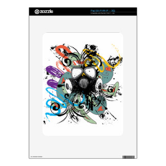 Grunge Floral Gas Mask Skin For iPad