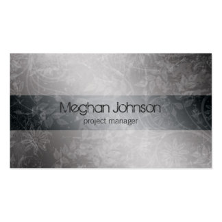 Grunge Floral Gray Trendy Business Card