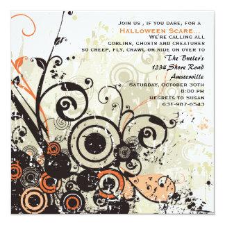 Grunge Floral - Halloween Party  Invitation