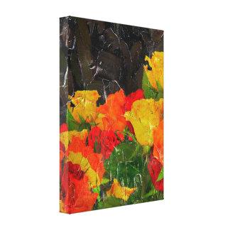 Grunge floral hermoso pintado lienzo envuelto para galerías