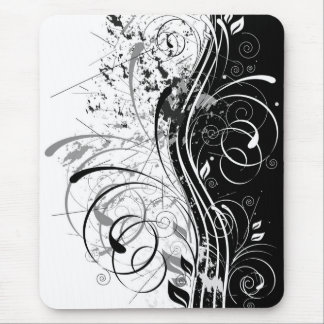 grunge floral mouse pad