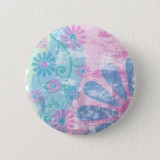 Grunge Floral Pinback Button