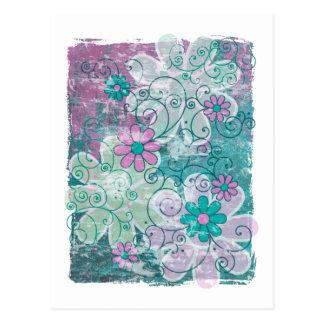 Grunge Floral Postcard