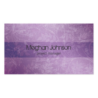 Grunge Floral Purple Trendy Business Card