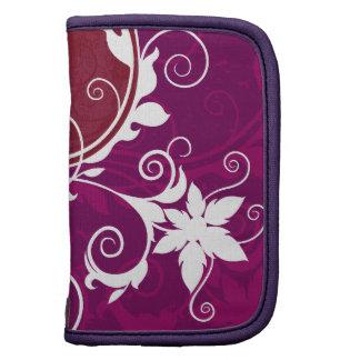 Grunge floral púrpura y blanco organizador