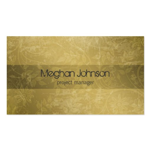 Grunge Floral Sepia Trendy Business Card