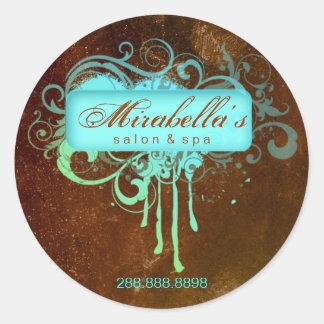 Grunge floral sticker salon spa blue brown