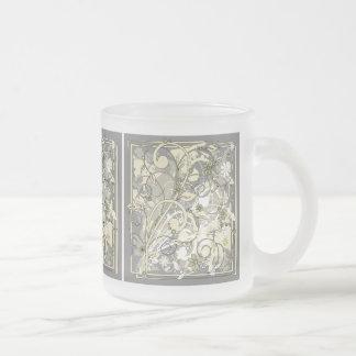 grunge floral taza cristal mate