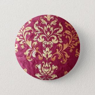 grunge floral Victorian Gold Burgundy damask Pinback Button