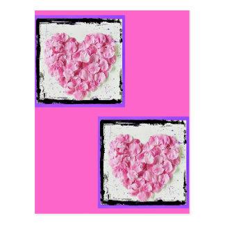 Grunge Flower Petal Heart Postcard