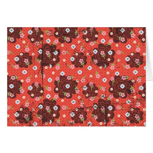 Grunge flowers and polka dot card
