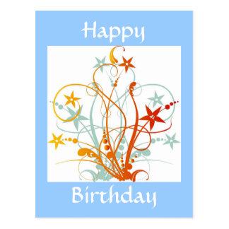 Grunge Flowers Blue - Happy Birthday - Customized Postcard