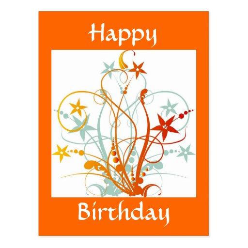 Grunge Flowers, Happy Birthday - Customized Postcard