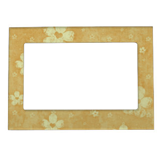 Grunge Flowers Magnetic Picture Frame