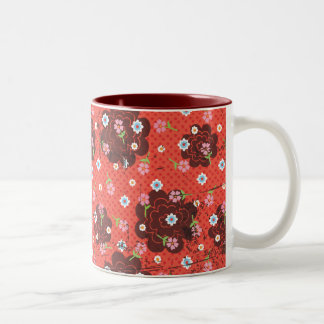 Grunge flowers mug