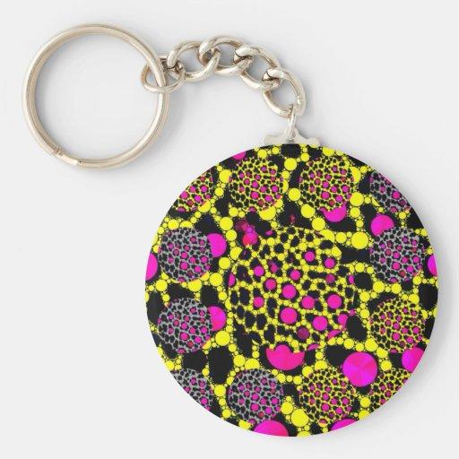 Grunge fluorescente Bling del guepardo Llavero Redondo Tipo Pin