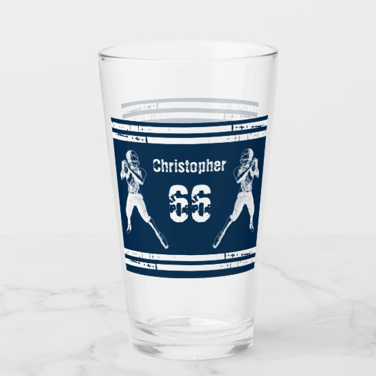 Grunge Football Quarterback Blue and White Glas