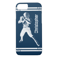 Grunge Football Quarterback Blue and White iPhone 7 Case