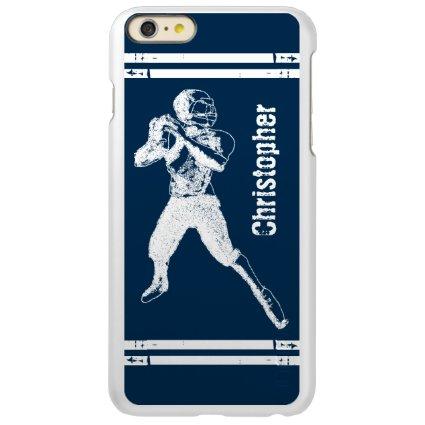 Grunge Football Quarterback Blue and White Incipio Feather® Shine iPhone 6 Plus Case