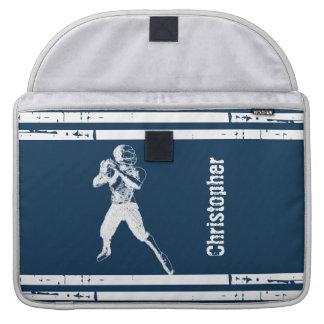 Grunge Football Quarterback Blue and White MacBook Pro Sleeve
