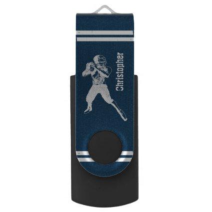 Grunge Football Quarterback Blue and White Swivel USB 3.0 Flash Drive