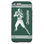 Grunge Football Quarterback Green and White Tough iPhone 6 Case