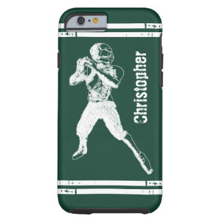 Grunge Football Quarterback Green and White Tough iPhone 6 Case
