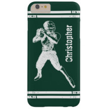 Grunge Football Quarterback Green and White Barely There iPhone 6 Plus Case