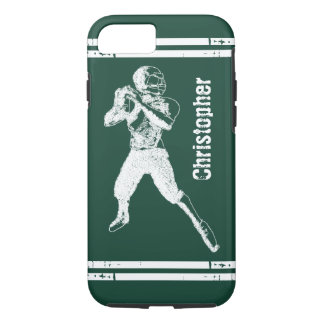 Grunge Football Quarterback Green and White iPhone 7 Case