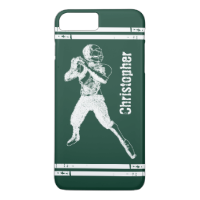 Grunge Football Quarterback Green and White iPhone 7 Plus Case