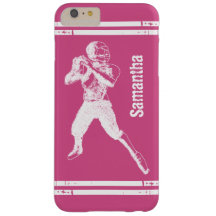 Grunge Football Quarterback Pink and White Barely There iPhone 6 Plus Case