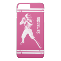 Grunge Football Quarterback Pink and White iPhone 7 Plus Case