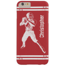 Grunge Football Quarterback Red and White Barely There iPhone 6 Plus Case