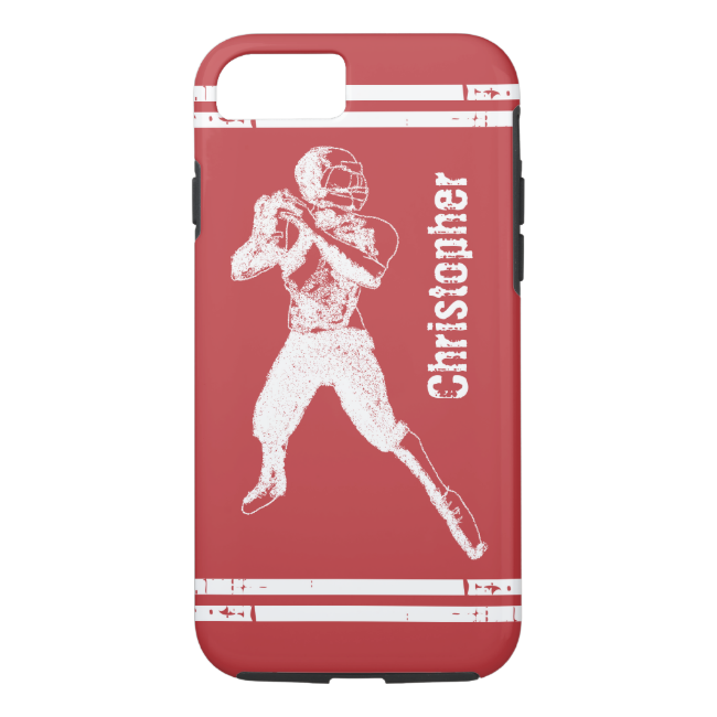 Grunge Football Quarterback Red and White iPhone 7 Case