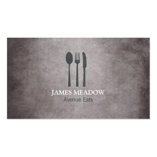 Grunge Fork Knife Spoon Restaurant Cafe Catering Business Card Templates