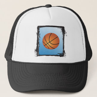 Grunge Frame Basketball Icon Blue Background Trucker Hat