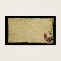 Grunge Frame Girl On Rooster- Prim Biz Cards