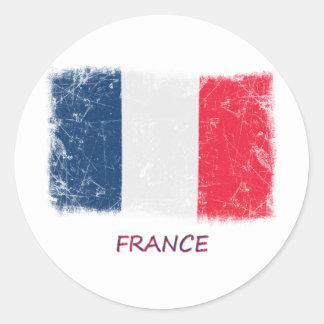 Grunge France Flag Round Sticker