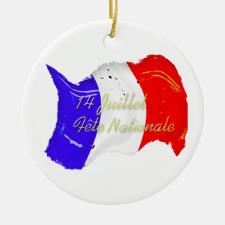 Grunge French Flag Ornament