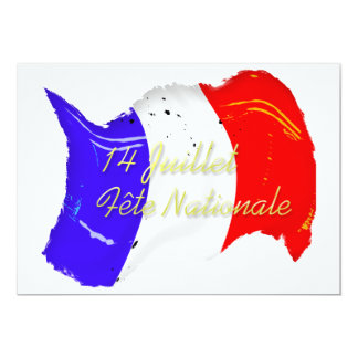 Grunge French Flag Party Invitation Template